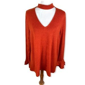 Very J NWT knit choker top with ruffle sleeves